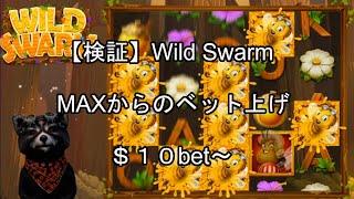 【オンラインカジノ】【カジ旅】検証!MAXからベットを上げた場合どうなるのか!$10bet~ 実践WILD SWARM大群モード突入までノーカット!!
